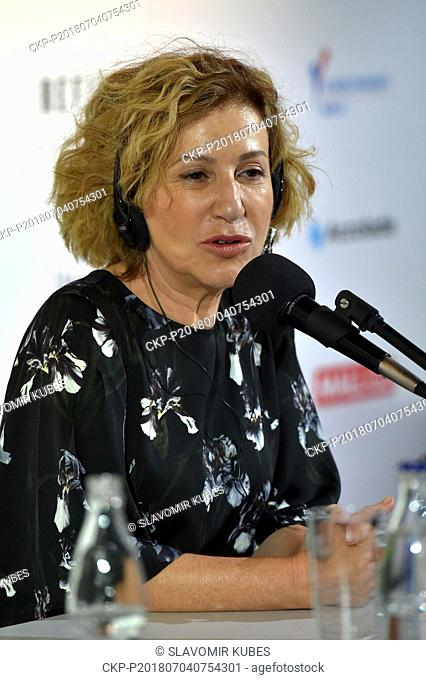 Actress MERCEDES MORAN speaks within presentation of film Sueno Florianopolis during the 53rd International Film Festival in Karlovy Vary (KVIFF)