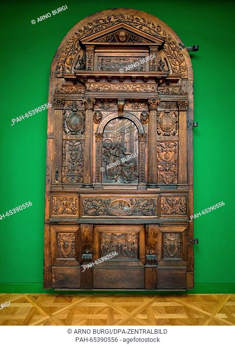 The original door from the palace chapel in Dresden is on display in the rooms of the armoury of Dresden Palace in Dresden, Germany, 27 January 2016
