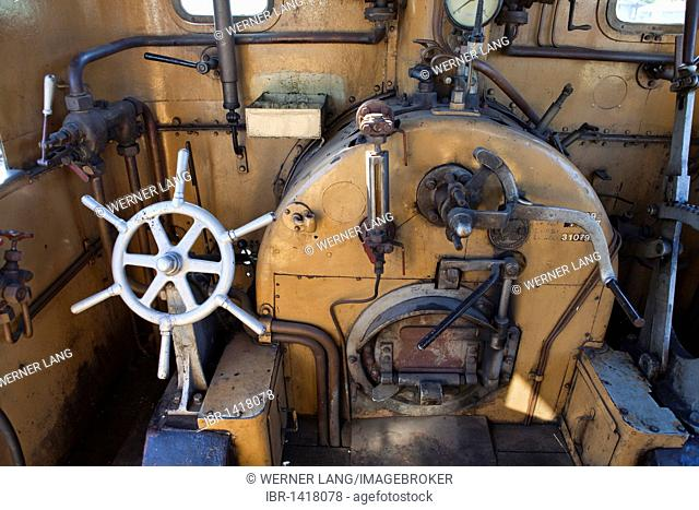 Driver's cabin of a Licaon steam locomotive, the oldest operational locomotive in the world, built in 1851 in Austria, Railway Museum Strasshof, Austria, Europe