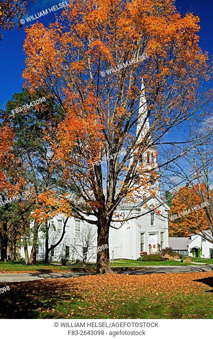Congregational church, Peacham, Caledonia County, Vermont, USA, October