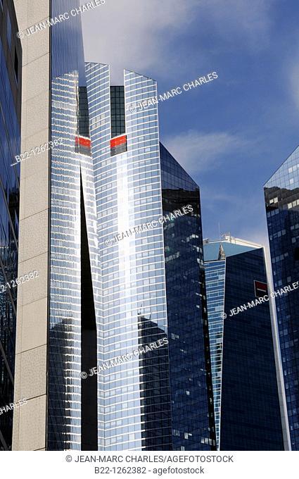 Towers of Société Générale one of the leading financial services companies in Europe, La Defense business district, Paris, France