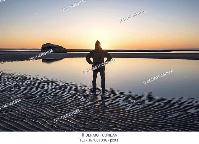 USA, Massachusetts, Cape Cod, Orleans, Man watching sunset at beach