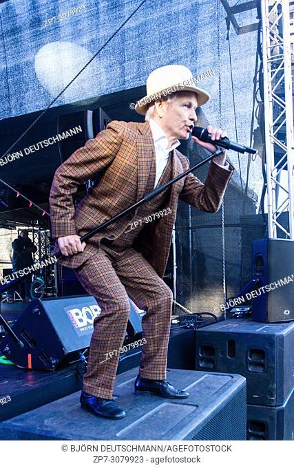 . Kiel, Germany - June 19, 2018: The Hannes Wendt Band on the Radio Bob! Rockstage during the Kieler Woche 2018