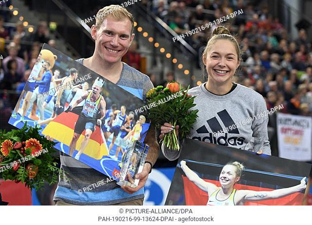 16 February 2019, Saxony, Leipzig: Athletics, German Indoor Championships in the Arena Leipzig: Sprinter Gina Lückenkemper and decathlete Arthur Abele are...