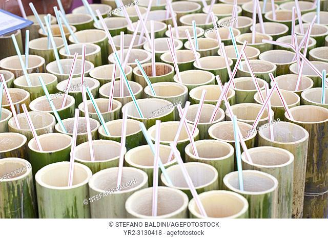 Bamboo cups waiting to be filled, Thailand