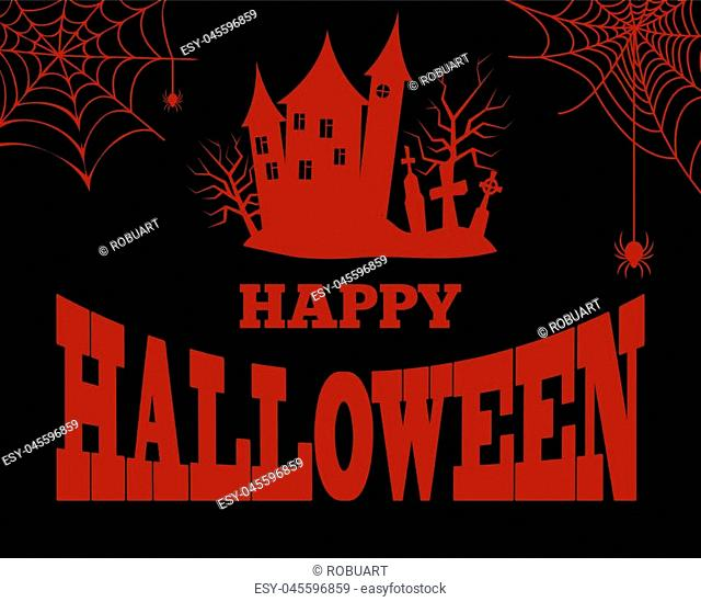 Happy Halloween poster with closeup bloody silhouette of creepy house with windows, tower and cemetery with cobweb in corners vector illustration