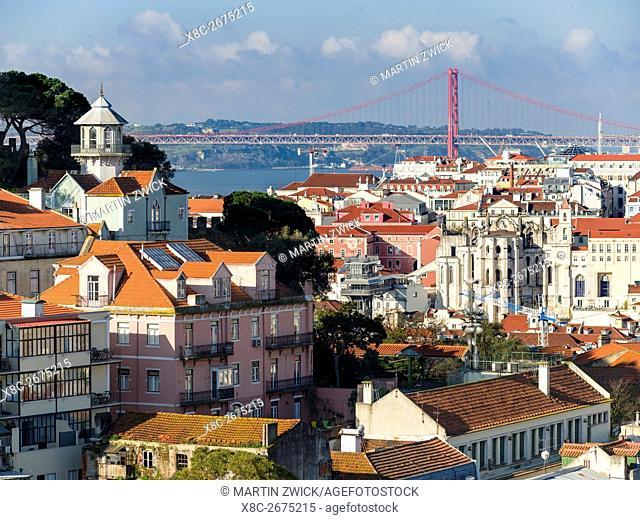 View over the quarters Baixa and Bairro Alto towards river Tagus (Rio Tejo). Lisbon (Lisboa) the capital of Portugal. Europe, Southern Europe, Portugal, March