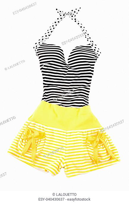 c183ead2170 Sweetheart halter cute striped fashion look isolated on white background.  Clipping path included