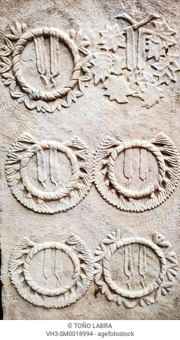 Roman Stele with Olive Crowns. Ephes Museum. Ancient Classic Greece. Asia Minor. Turkey