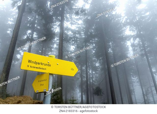 Hiking Sign in Sternwald Wind Farm. Upper Austria. Austria