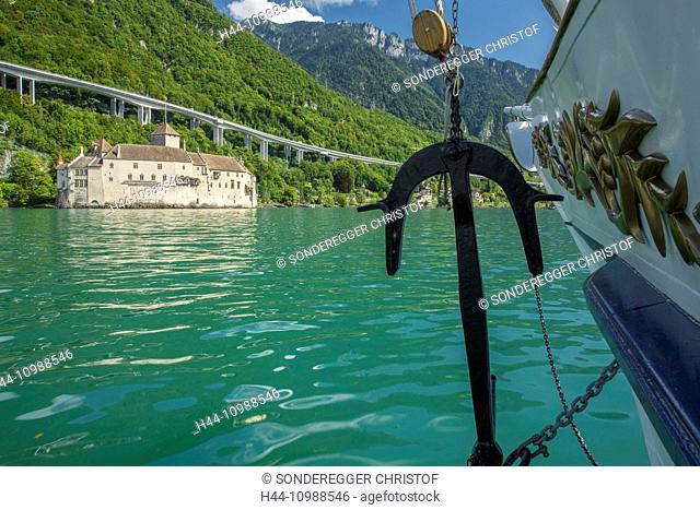 Steamboat on lake Geneva with castle Chillon, Vaus