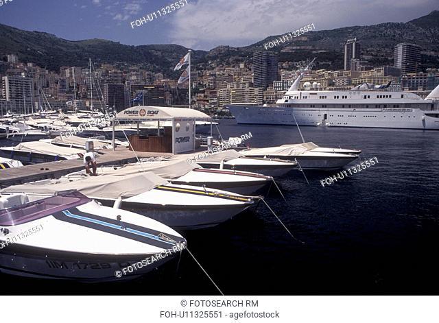 Monaco, Boats docked in Monaco Harbor in the district of La Condamine in the Principality of Monaco along the Mediterranean Sea