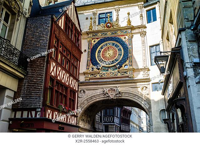 The Renaissance Gros Horologe is situated in the Rue du Gros Horologe in Rouen, Normandy. Its original movement dates back to 1389. g