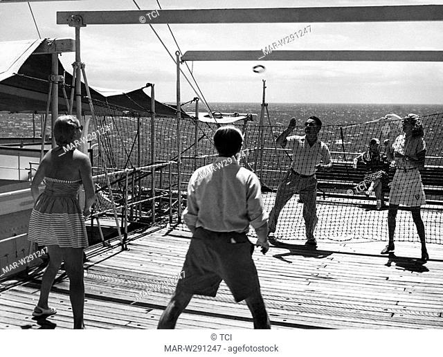people playing on vulcania cruise ship, 1955