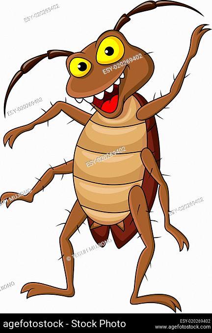 Cockroach cartoon waving hand