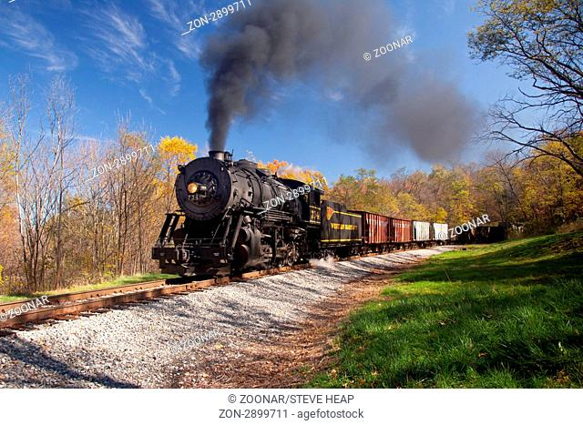 CUMBERLAND, MD - OCTOBER 17: Western Maryland Railroad steam train on October 17, 2011. This scenic railroad offers excursions pulled by a 1916 Baldwin...