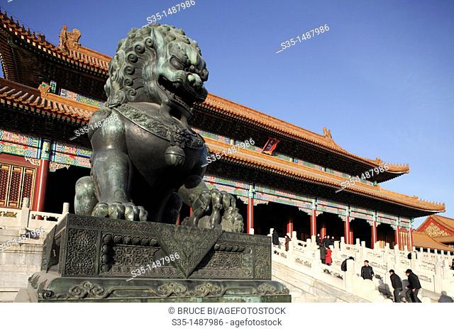 A bronze lion statue in front of the Gate of Supreme Harmony Tai He Men  Forbidden City  Beijing  China