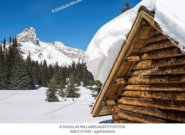 The Elizabeth Parker hut at Lake O'Hara in Yoho National Park, BC, Canada, in winter
