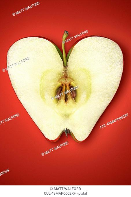 Close up of halved apple