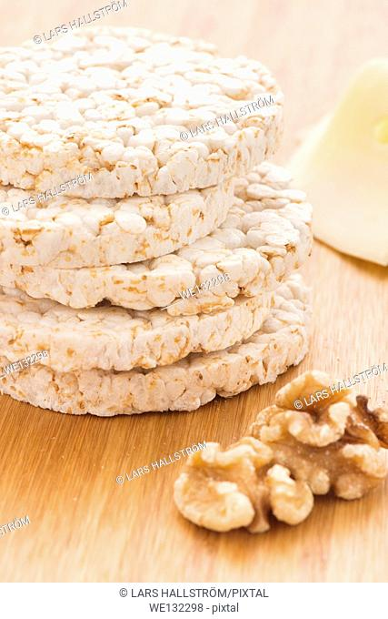 Stack of rice cakes and walnuts. Healthy lifestyle food