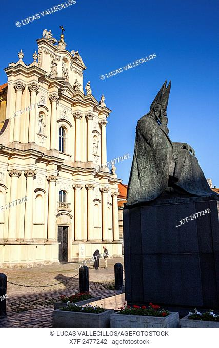 Church of St Joseph of Visitationists with Stefan Wyszynski statue, Warsaw, Poland