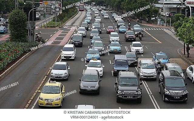 Traffic jam in downtown Jakarta, Java, Indonesia, Southeast Asia