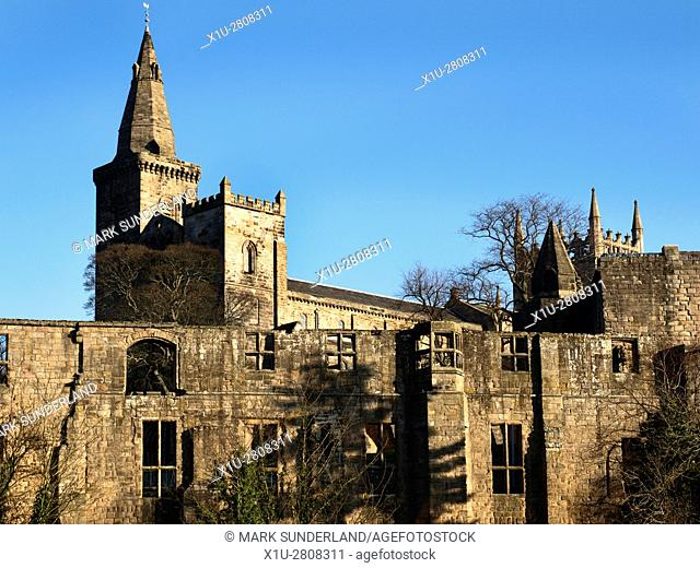 Dunfermline Abbey and Palace Ruins from Pittencrieff Park Dunfermline Fife Scotland