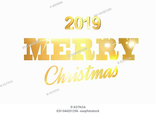 Christmas card with calligraphic text over white background. Merry Christmas greeting card. Vector illustration
