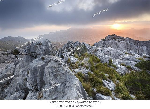 View of Serra de Tramuntana, Escorca, Majorca, Balearic Islands, Spain