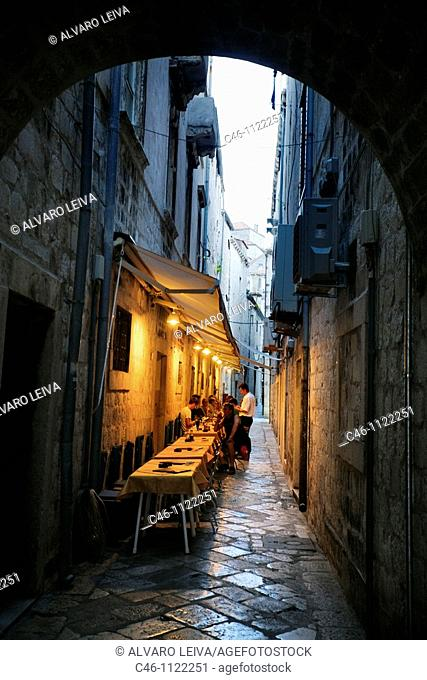 Street. Old medieval city. Dubrovnik. Dalmatian coast. Croatia