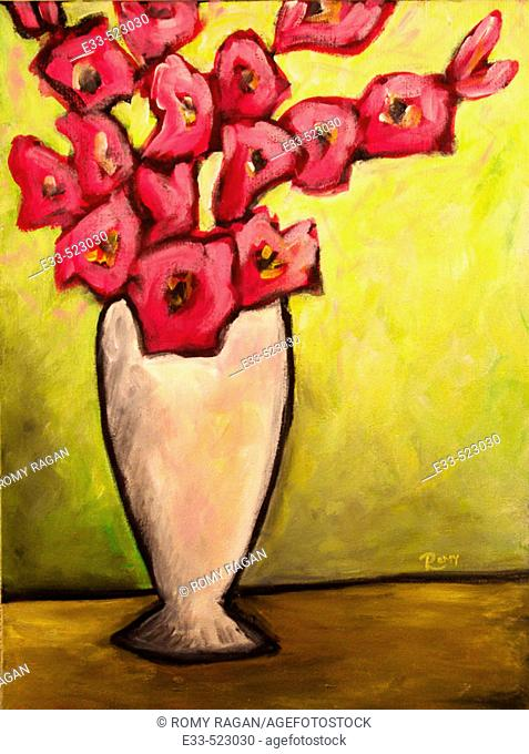 'Gladiolus' Acrylic on canvas. 2004. Private collection