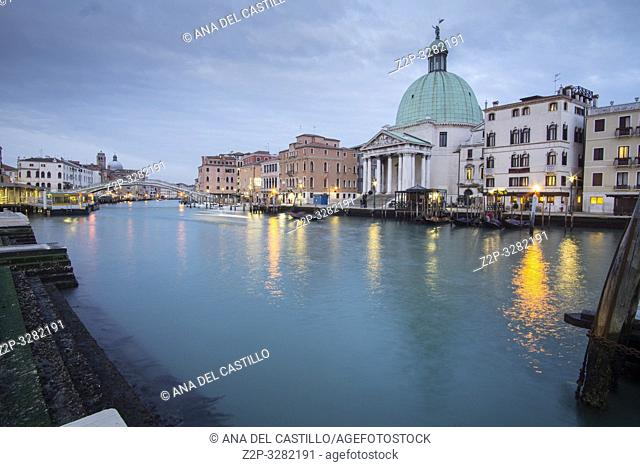 Venice Veneto Italy on January 20, 2019: Twilight in Grand Canal. Chiesa dei Santi Simeone e Giuda