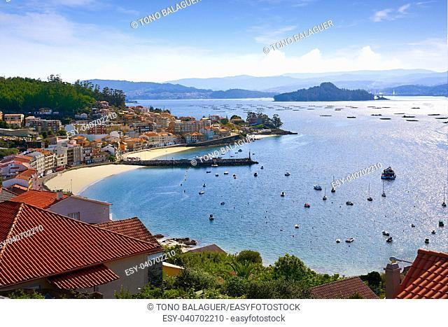 Ria de Pontevedra river Raxo village of Poio and Tambo island in Galicia Spain
