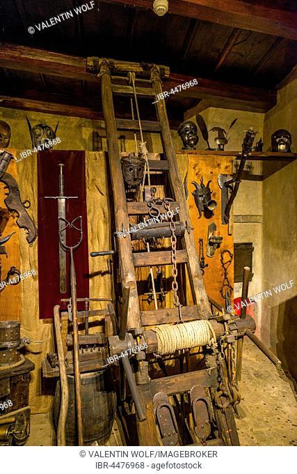 Medieval torture instruments, torture chamber, Indoors, Prague Castle, Hradcany, Prague, Bohemia, Czech Republic