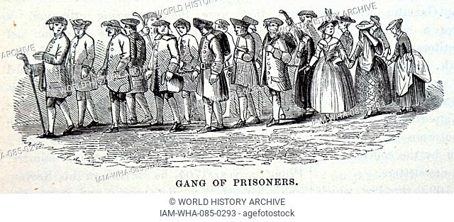Engraving depicting a gang of prisoners in London. Dated 18th Century