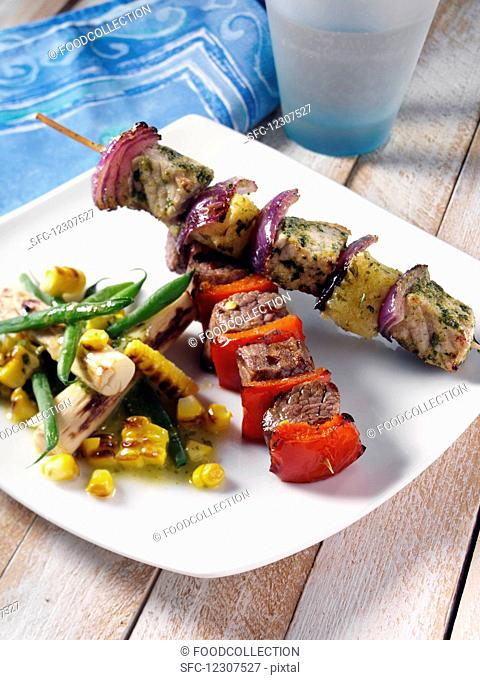 orkand pineapple and chilli beek kebabs with corn and palm heart salad
