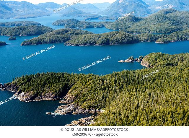 aerial view of the west coast of Vancouver Island, BC, Canada