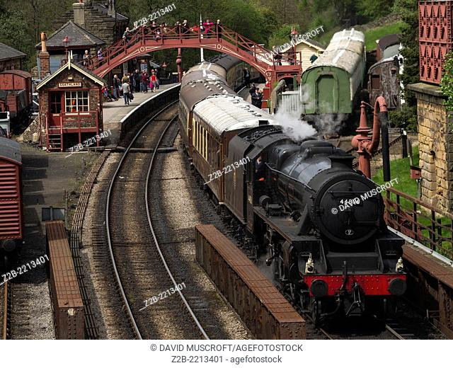 Vintage steam engine locomotive at Goathland station, North Yorkshire Moors Railway, on the North Yorkshire Moors, Yorkshire, UK