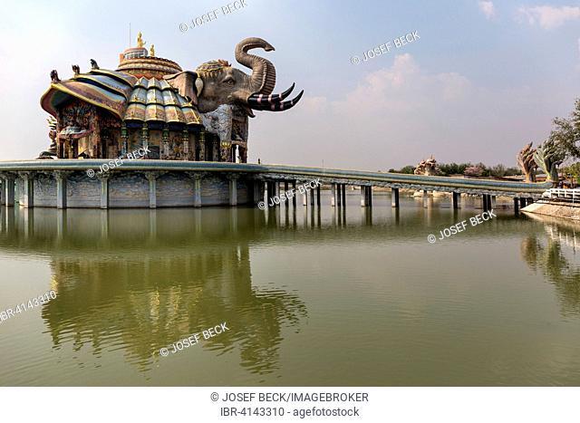 Bridge to the Elephant Temple Thep Wittayakhom Vihara, Wittayakom, Wat Baan Rai, Korat, Nakhon Ratchasima Province, Isaan, Isan, Thailand