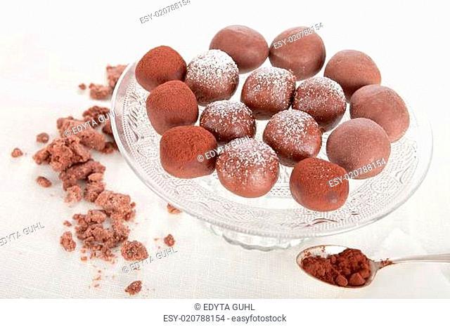 Delicious balls of chocolate truffle