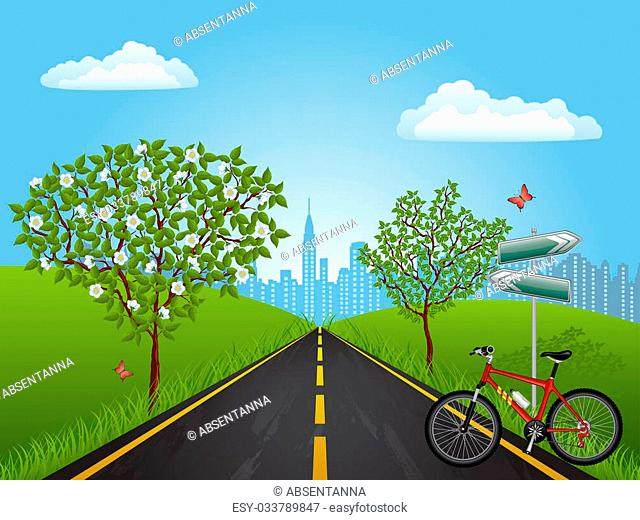 Summer landscape with a bike. Vector illustration