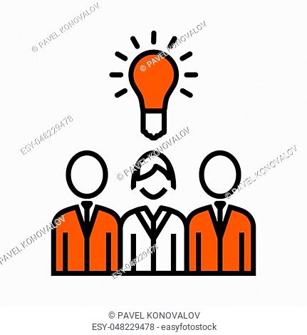 Corporate Team Finding New Idea With Woman Leader Icon. Thin Line With Orange Fill Design. Vector Illustration