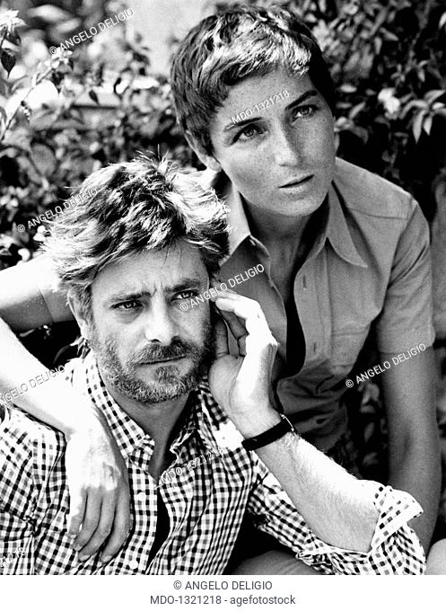 Portrait of Giancarlo Giannini with his wife Livia Giampalmo. Portrait of the Italian actor and voice actor Giancarlo Giannini with his wife