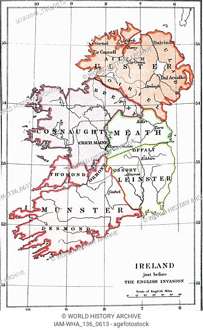 An engraving depicting a map of Ireland before the Flight of the Earls (1606) and the English Conquest (1588-1610). Dated 19th century