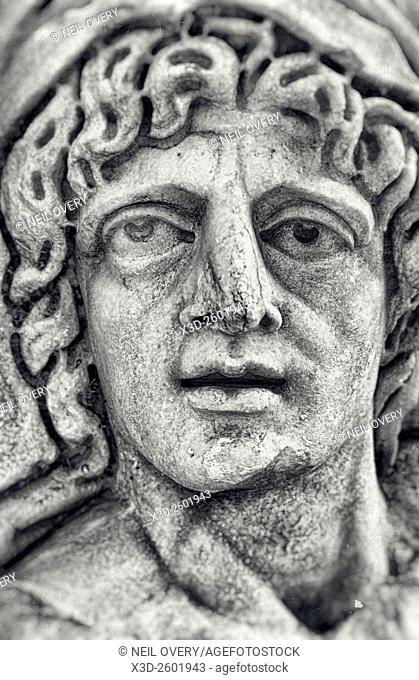 Face of Lycian Statue, Myra, Turkey