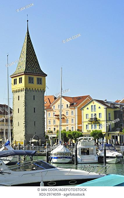harbour with Mangturm Tower, Lindau, Bavaria, Germany