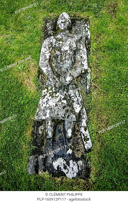 Stone grave slab of Angus Martin on the Kilmuir Cemetery, Isle of Skye, Scottish Highlands, Scotland