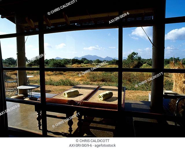 Massage tables outside luxury home, Sigiriya North Central Province, Sri Lanka