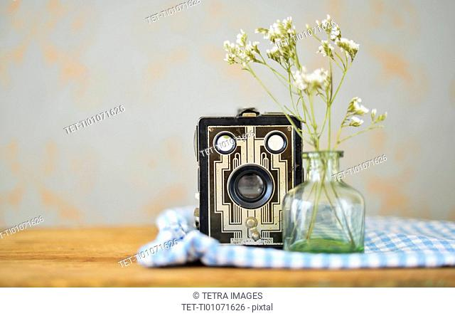 Studio shot of vintage camera and flowers