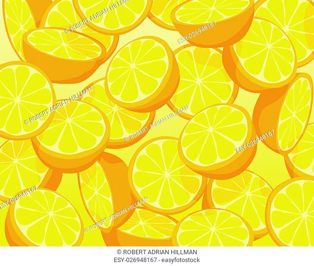 Editable vector illustration of falling sliced oranges